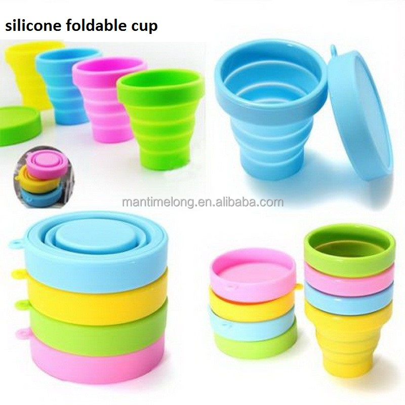 portable outdoor camping travel silicone foldable cup folding cup