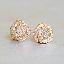 China style lucky with body gold plated flowers zircon stones earring for women