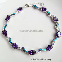 2015 Popular Tanzanite CZ Opal Bracelet , 925 Sterling Silver Opal Bracelet China Manufacture Opal Jewelry Accepted By paypal