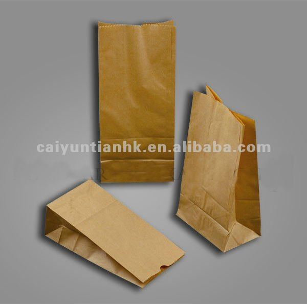gusset flat base kraft paper bread bag food packaging bags with tear notch