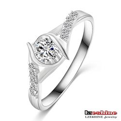 Solitaire Zircon Women Silver Plated Enternity Ring CRI0251-B