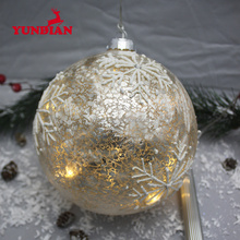 Beautiful hanging crackle glass christmas led ball lighted ornaments with snowflake