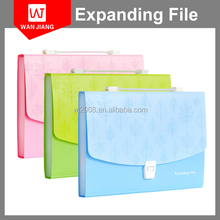 A4 FC size Plastic hanging Expanding file folder boxes with 13 Pockets Accordion File snap button