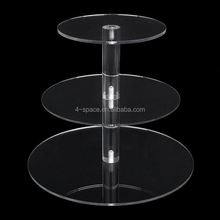 3 Tier Round Perspex acrylic Cupcake Stand Wedding Cake Stand With One Pillar