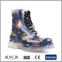 transparent ladies fashion rubber rain boots flower printed women gumboots
