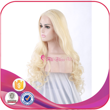 22 Inch Natural Wavy Blonde Long Synthetic Heat Resistant Glueless Lace Front Wig for Young Pretty Girl