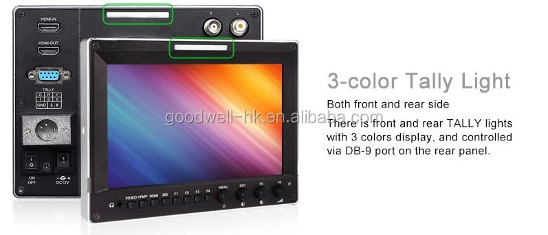 Aluminum frame IPS 1280x800 Camera-Top 3G HD-SDI 7 On Camera Monitor with 3G SDI Waveform Vectorscope Color Histogram Inputs