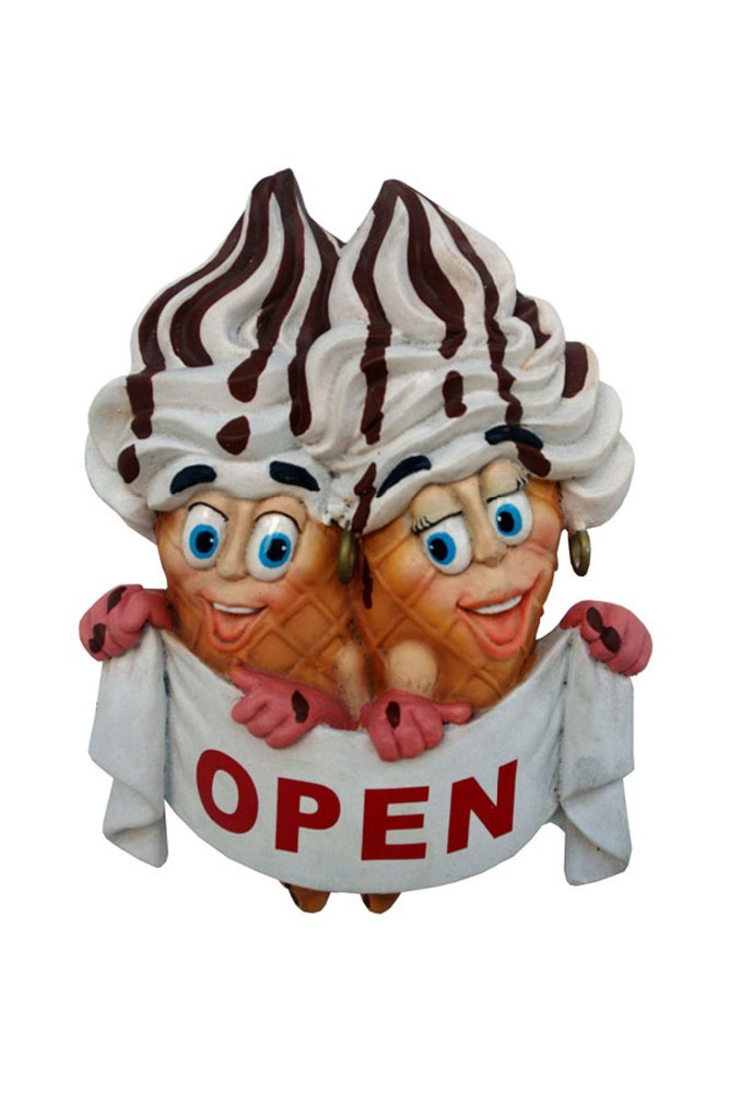 Resin Ice Cream Open-Close Door Sign (Male and Female)