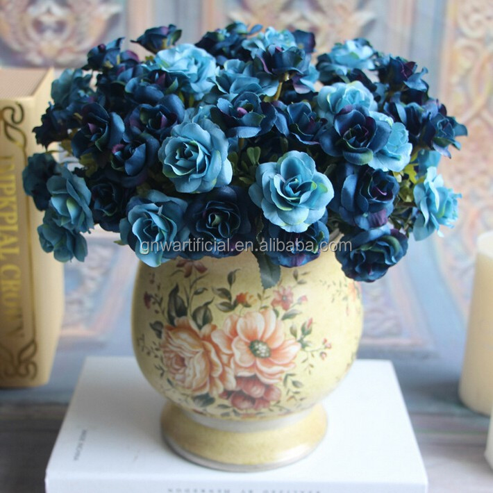 GNW FL-RS28-15-4CM indian fake blue home table decoration rose flowers
