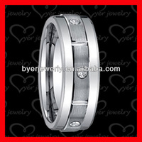 Wedding rings,tungsten rings, cz stone set