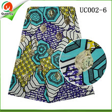 china supplier wholesale sequined african wax prints fabric hollandais cotton fabric