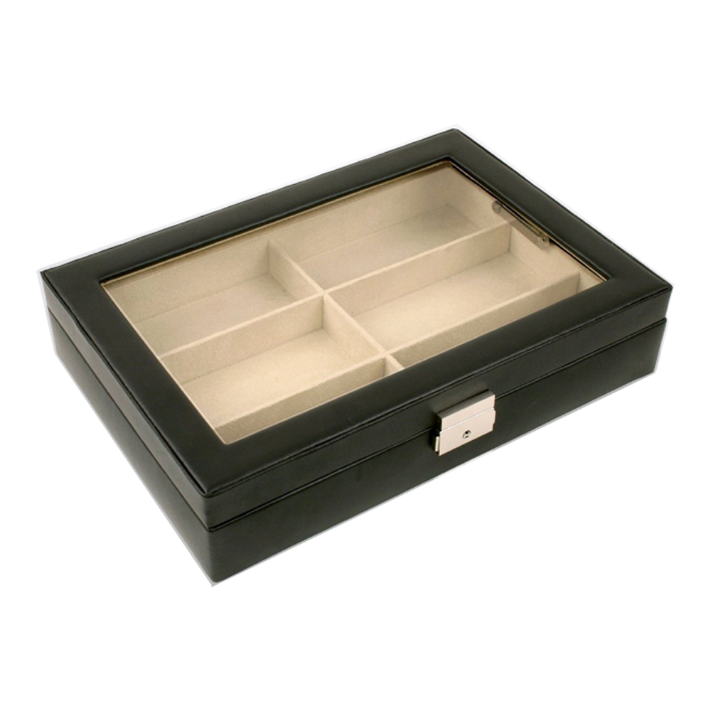 6 Pcs Black Leather Sunglass Storage Box
