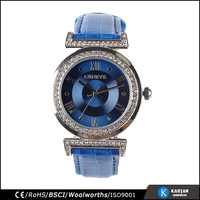 ladies blue strap watch genuine leather, geneva bling rhinestone crystal wrist watch