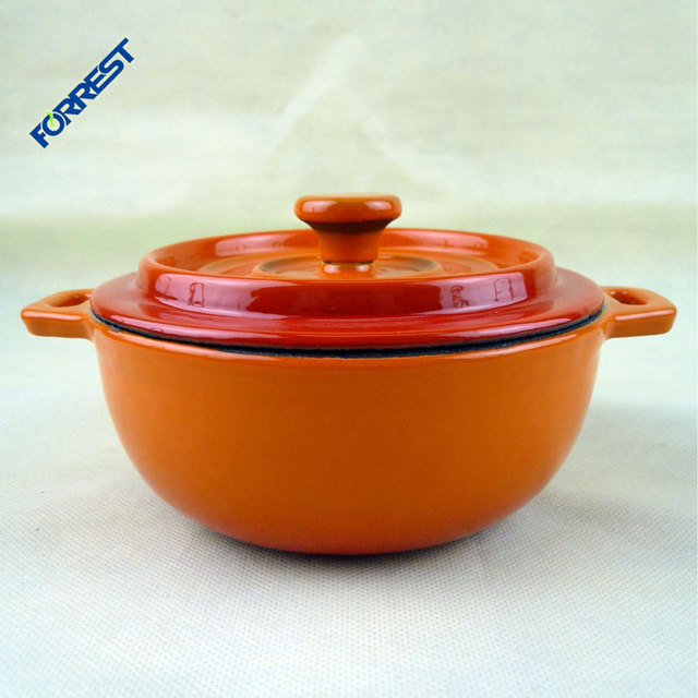 Mini enamel coated cast iron casserole with two handles