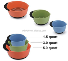 3 pcs plastic mixing bowl set with soft grip handle