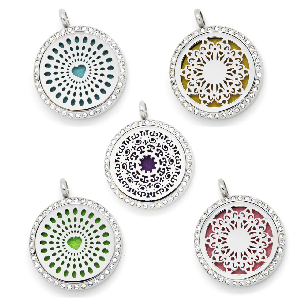 PN166 Stainless Steel Crystal Pave Aromatherapy Diffuser <strong>Pendant</strong>