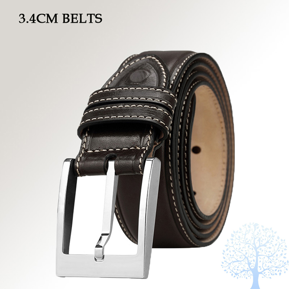 men leather belt 100% Cowhide Genuine Leather Belt For Man With Classic Buckle