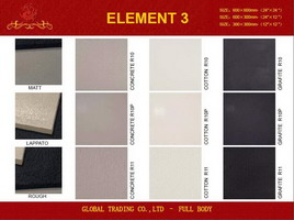 600x600mm Black color full body porcelain tile in 3 different surface R10