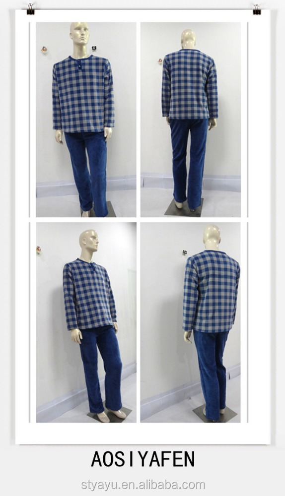 Casual handsome warm plaid coat and warm trousers warm pajamas men