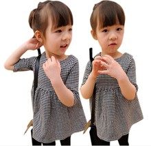 Exclusive Children's Clothing Houndstooth Girls Plaid Doll Dress