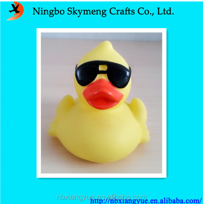 ECO friendly yellow rubber duck with sunglasses custom rubber animals
