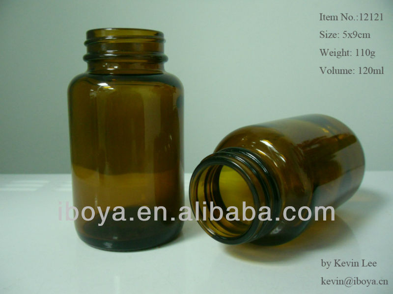 wholesale Pharmaceutical amber Glass Bottle (120ml) with plastic cap