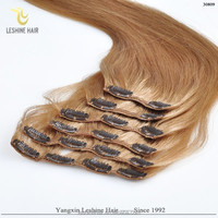 New Beauty Products 2014 Double Weft Full Cuticle Clip In Hair Extension Full Head Set