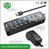 usb 3.0 hub 7 port combo card reader driver usb otg hub with CE certificate black white