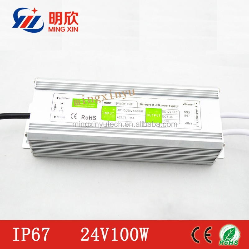 waterproof 100w electronic LED driver,24V 100W LED powersupply with 2 years of warranty