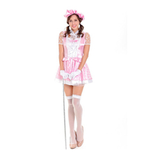 Fashion Sexy French Maid Cosplay Costume Pink Short Maid of Honor Dress