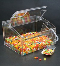 Custom Retail Store PC candy gravity dispenser/PC sweet box/pick and mix sweet dispensers for sale