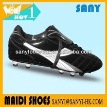 Hot Selling Famous Professional Cool Black PU Soccer Shoe for Men with Fold-resistant Waterproof TPU Outsole from China