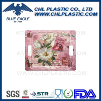 Flower printing plastic food tray with handle
