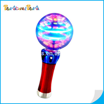 Rainbow color light up spinner wand christmas glow ball for Light up fishing spinners