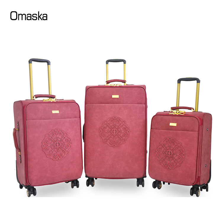Promotional sale 3 pieces 19 23 26 inch PU leather travel trolley luggage bag