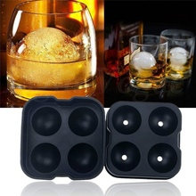 cheap wholesale 4 holes cocktail ice ball maker, silicon ice cube tray
