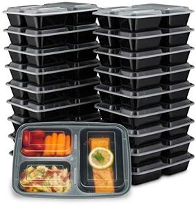 32OZ Microwave Dishwasher Safe Reusable plastic Bento Lunch Box 3 Compartment food Meal Prep Containers with Airtight Lids