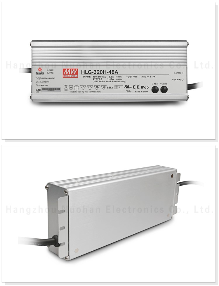 Meanwell pwm dimmable led driver HLG-320H-48 320w 48v PFC function led dimmable driver