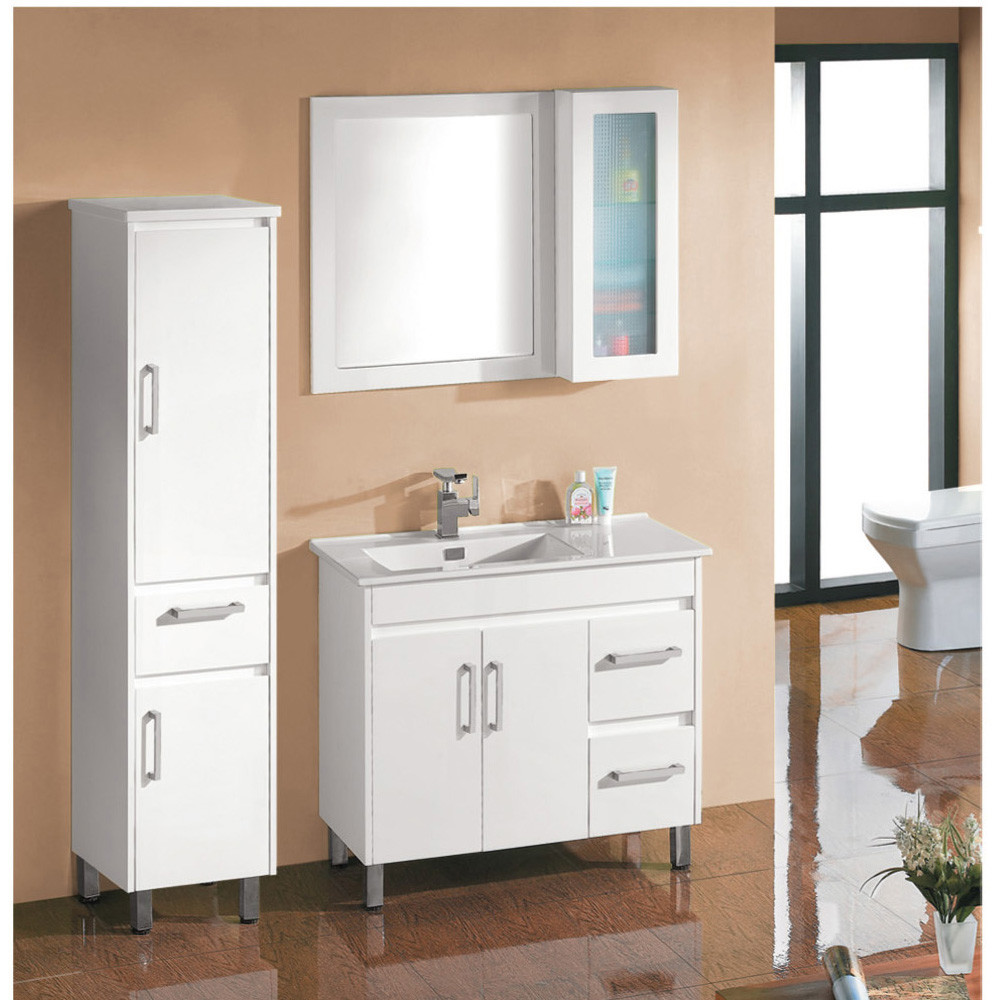 Popular cheap bathroom vanity sets bathroom storage cabinet sets with mirror and side cabinet for Cheap bathroom storage cabinets