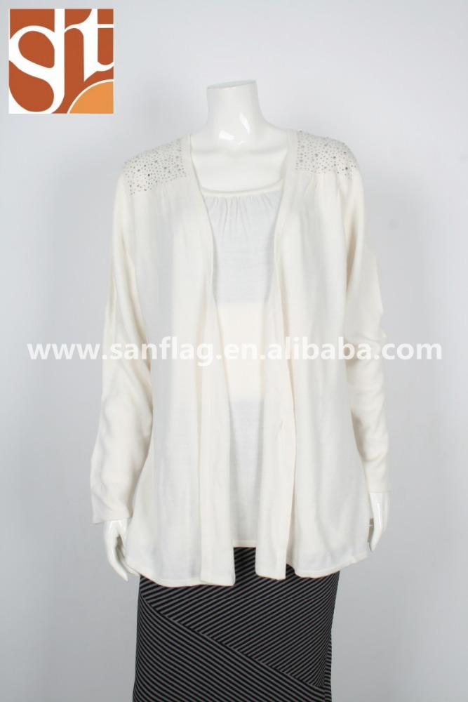 American women knit sweater oversized long sleeve acrylic cashmere like 12g white knitted sweater with heat set stones