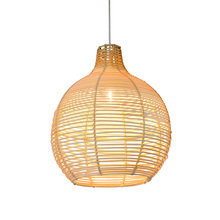 Handmade rattan wicker ball pendant night light fixture