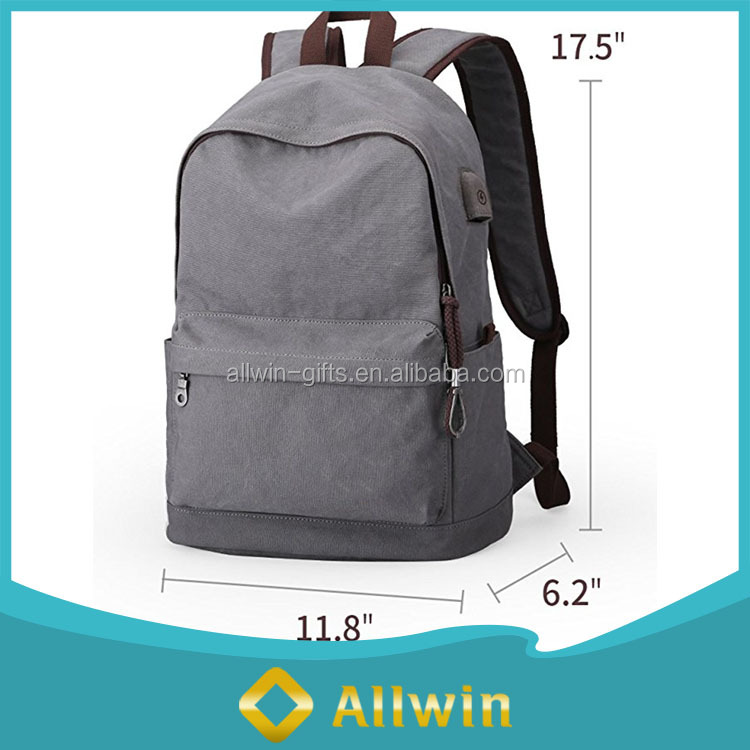 Vintage canvas laptop school backpack with USB port