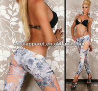 Professional wholesale Hot Sale elegant newspaper printed seamless leggings for women