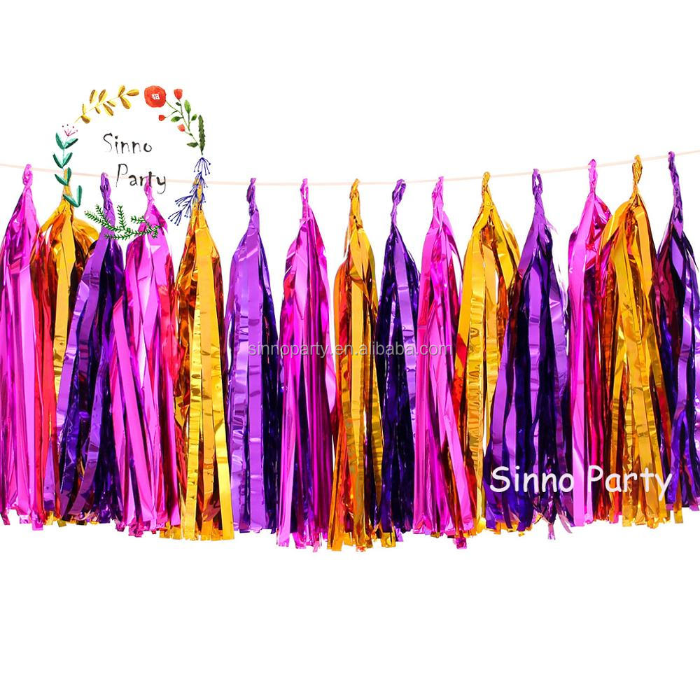 2017 New Ideal Product Home Decoration Banner Foil Tissue Paper Tassels Garland for Baby Shower Party Supply