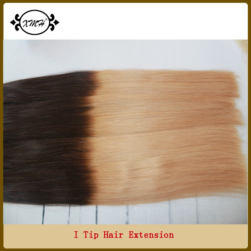 2015 Fashion 100% Human Hair Two Tone Color Pre-bonded I Tip Hair Extension For Lady