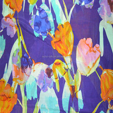 flower printed silk cotton fabric, silk cotton blended fabric.
