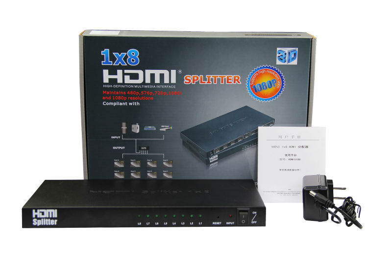 Ultra HD 1x8 port HDMI to HDMI distribution amplifier