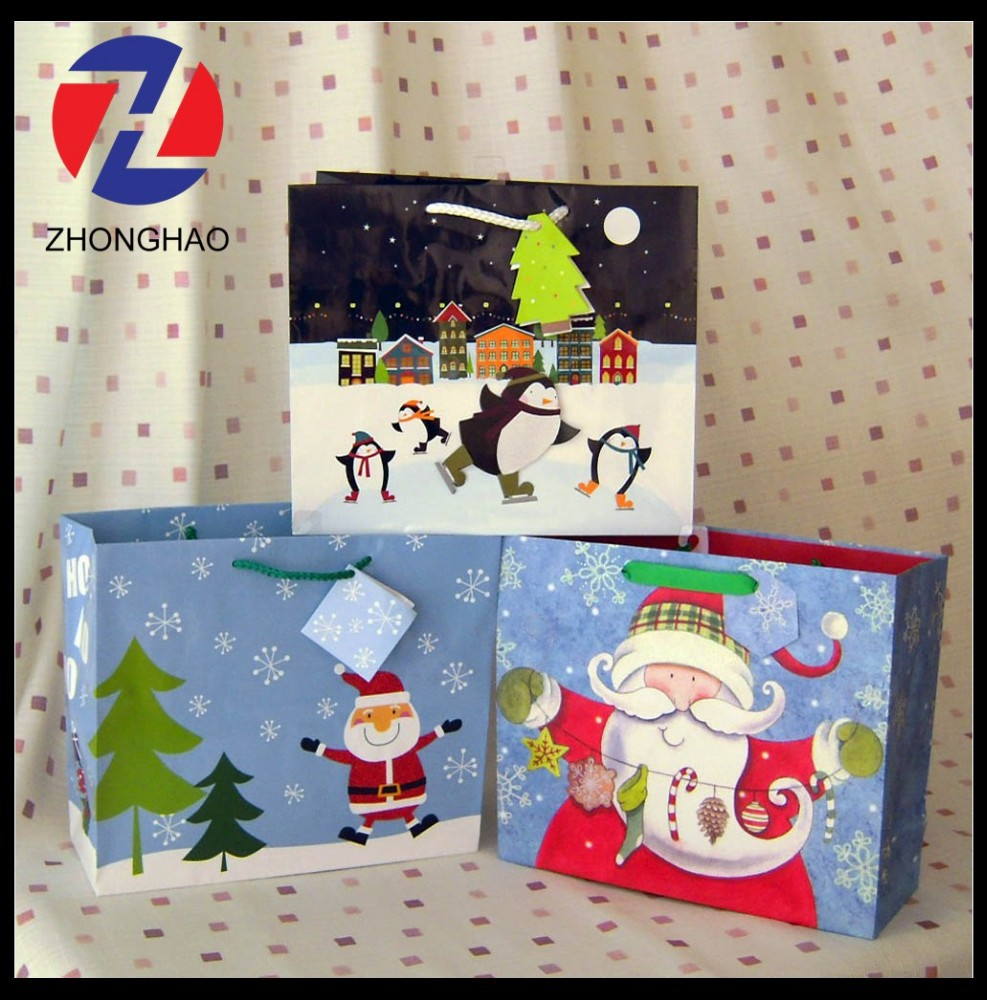 2015 New Arrived custom printed coated paper unique craft creative Christmas bag wholesale