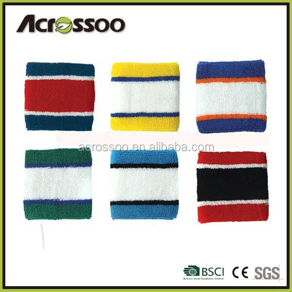 Promotional Gift Stripes Knit Wrist Sweatbands/Cotton Sports Wristband