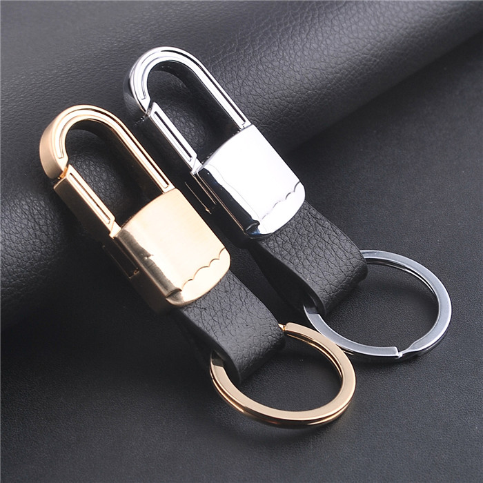 Wholesale PU leather car key chains/Double ring metal key chains